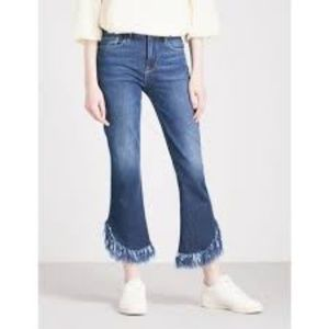 FRAME - Le Crop frayed mid-rise bootcut jeans